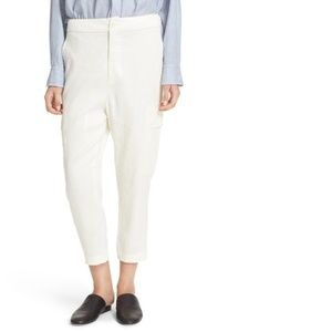 Vince Stretch Crop Cargo Pants Ivory Linen Chino
